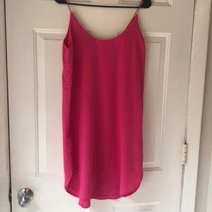 Hot pink dress.
